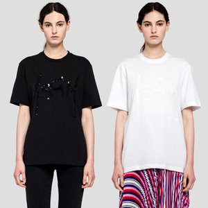 Spring summer new niche women's msgm cotton embroidered bead sequin black and white short sleeve T-shirt