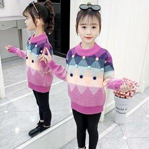 Pullover Girls Sweater Baby's Coat Outwear 2021 Vintage Plus Velvet Thicken Warm Winter Autumn Knitting Jacket Children's Clothing