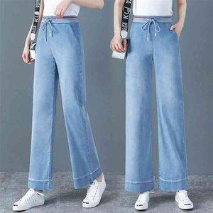 Wywan Vintage Cintura Alta Pantalón recto para mujeres Streetwear Femenino Denim Botones Zipper Ladies Jeans 210322