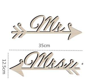Partie de corde de chanvre pendentif arts artisanat Lettre de widget MR et Mme Wood Pendans arrow SignPost Célébration de mariage Décorer OWF5944