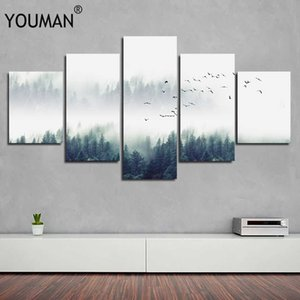 Nordic PVC decorative forest landscape poster canvas print wall hanging art combination painting background decorative painting C0927
