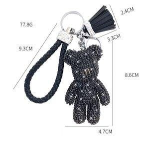 Dessin animé créatif Plein diamant Bear Tassel Car Keychain Pendentif Mignon Sac Mâle et Femelle Chaîne clé Cadeau Mignon Cadeau cadeau de Noël 307 S2