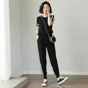 shorts summer women's sweater knitted 2 piece of short sleeves crop top elegant black suits upper mesh and long sportsuit trousers KXRR