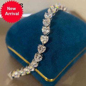 OEVAS Real 925 Sterling Silver Created Moissanite Gemstone Bangle Charm Wedding Party Diamonds Bracelet Fine Jewelry Wholesale
