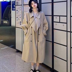 Women's Trench Coats Office Lady Double Breasted Fall Woman Lace Up Slim Waist Autumn Long Coat 2021 Solid All Match Windbreaker Female