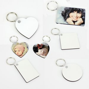 Wooden Blank Sublimation Keychain Party Favor Portable Double Sided Thermal Transfer Key Chain DIY Keyring Pendant Creative Gift