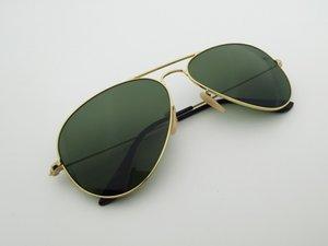 Style pilote Hommes Femmes Lunettes de soleil Métal Cadre Double pont design 58mm Lentille en verre Oculos de Sol Masculino Gafas avec boîtes Accessoires
