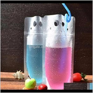 Plastic Drink Packaging Bag Pouch Beverage Juice Milk Coffee With Handle And Holes Straw Wzltk Storage Bags 06Igq