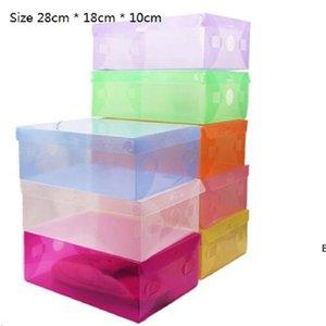 البلاستيك مربع الأحذية تخزين اللون درج أحذية ماكياج منظم caixa organizadora boite دي rangement فليب التشطيب الملابس DHD6534