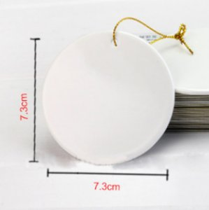 Sublimation christmas tile ornament pendant hanging decoration 3 inch round coating christmas ornament decoration for diy lovers sea GWA4562