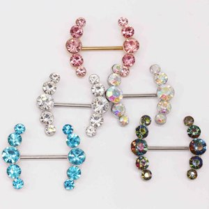 Human breast nail piercing jewelry double-layer inlaid diamond love breast ring