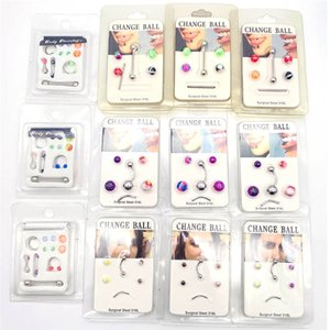 Creative Card-mounted stainless steel belly button nose ring acrylic interchangeable eyebrow nails European and American piercing jewelry