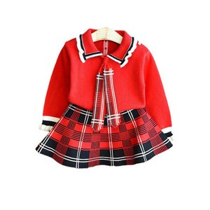Girls Sweater Sets Kids Clothing Baby Clothes Outfits Autumn Winter Cotton Long Sleeve Knitting Patterns Sweaters Tops Short Skirts Children Suits 2Pcs B8367
