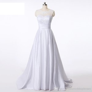 Sexy Stock A-Line White Satin Plus Size Wedding Dresses Bridal Gowns With Appliques Floor-Length Party Gown QC1148