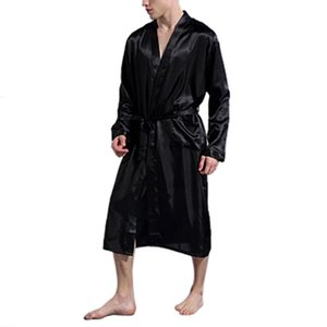 Erkek Ipek Saten Bornoz Robe Uzun Katı İpek Pijama Erkekler Gecelik Pijama Kimono Homme Soyunma Kıyafeti