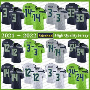 Stitched 3 Russell Wilson 14 DK Metcalf Football Jersey 33 Jamal Adams 54 Bobby Wagner 16 Tyler Lockett 12S Fan 24 Marshawn Lynch Shaquem Griffin SeattleHombres