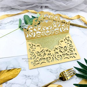 Classic Gold Laser Cut Wedding With Envelope Style Personal Wedding Party Birthday Invitations