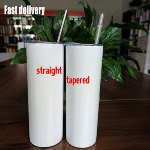 DHL free Attention STRAIGHT! 20oz Sublimation STRAIGHT Tumblers With Straw Stainless Steel Water Bottles Double Insulated Cups Mugs 496