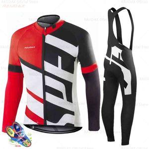 Radfahren Jersey Pro Team Frühling Herbst MTB Radfahren Kleidung Langarm Triathlon Mountainbike BIB Pant Set Ciclismo Hombre X0503