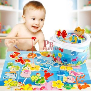Magnetic Fishing Wooden Toys For Children Playing Jigsaw Puzzle In Simulation Of Parent-child Game Gift