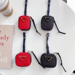 Luxury Design Airpods Case для 1/2 Высочайшее Качество AirPod Pro Cass Fashion Designer Письмо Печатный Черный Красный Холст Защита Наушники Пакет Key Цепь оптом