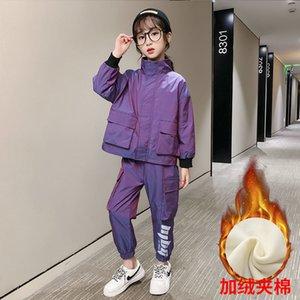Children's suit Autumn Winter Kids Big Girl Casual Sports Outfits Sets 2pcs Teens Zipper Jacket+ Pants Plus Veet Warm Youth Tracksuit Clothe