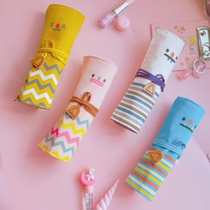Pencil Bags 1pcs Cute Smile Case Rolling Curtain 4 Style Multi-function Pen Bag Canvas For Students Personality Stationery