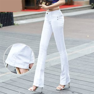 QBKDPU Plus Size Pantaloni colorati Pantaloni Flare Pantaloni Bianco e Bianco Bell Bell Pantaloni Sexy Party Club Jeans Pantalones Para Mujer 210322