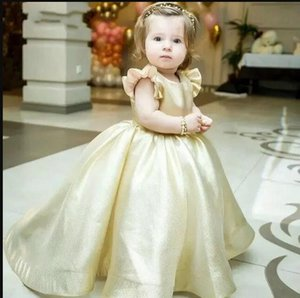 Lovely Champagne Ball Gown Flower Girl Dresses for Wedding O Neck Backless Sweep Train Bow Child Birthday Party Gowns Girls Pageant Dress Custom Made
