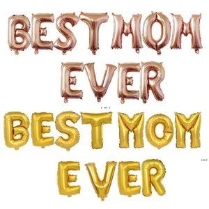 Journée des mères Meilleure maman Jamais des lettres Balloon Accessoires de fête Décorations du festival de 16 pouces Aluminium Feuille de ballons de ballons HWD5832