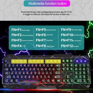 Keyboard And Mouse Combo USB Wired Gamer Gaming Kit RGB LED Luminous Waterproof Magic Set For PC Combos