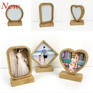 Bamboos Sublimation Blank Photo Frame With Base DIY Double Sided Wood Love Heart Round Frames Magnetism Picture Painting Decoration
