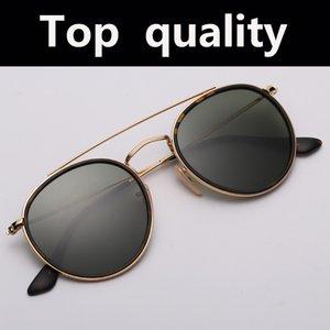 أعلى جودة 3647 جولة المعادن عدسة الزجاج النظارات الشمسية النساء الرجال التدرج طلاء مرآة نظارات الشمس الرجال النساء 51mm
