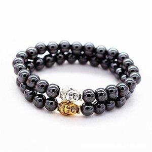 Health Care Black Magnetic Bracelet Beads Stone Therapy Magnet Hematite Buddha Head Beads Bracelet