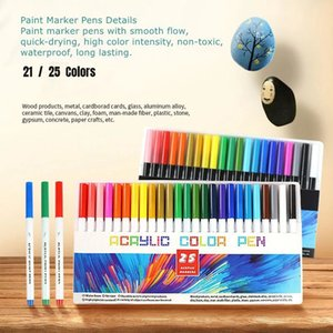 21 25 Color Permanent Acrylic Paint Marker Pens for Fabric Canvas , Art Rock Painting, Card Making, Metal and Ceramics, Glass