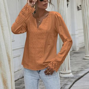 Women's Blouses & Shirts Long Lace Sleeve Woman Loose V-neck Solid Top Women 2021 Autumn Casual Korean Elegant Ladies Female Clothing