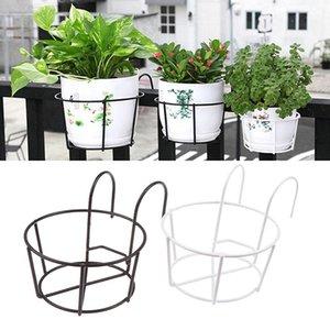 Planters & Pots Garden Hanging Plant Iron Rack Wall Balcony Round Flower Pot Fence Railing
