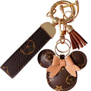 Mouse Design Car Keychain Favor Flower Bag Pendant Charm Jewelry Keyring Holder for Men Gift Fashion PU Leather Animal Key Chain Accessories