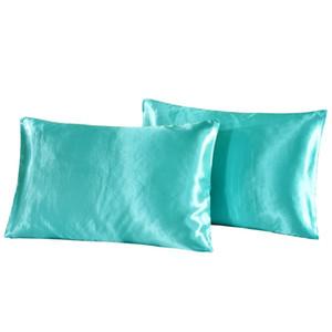 Emulación de seda Funda de almohada de satén 20 * 26 pulgadas Color sólido Cubierta de almohada VERANO HIEL SILIQUE Caja de almohada Caja de cama Supplie 169 V2