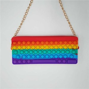 2021 Rainbow Back To School Stydents Pen Bag Fashion Cute Tie Dye Push Poppers Decompression Puzzle Bubble Silicone Crossbody Pack Handbags G94T55V