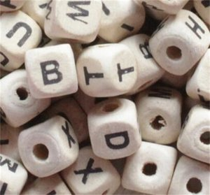 Wood Beads 200pcs lot Natural Alphabet  Letter Cube Wooden Beads 8x8mm 10x10mm For Jewelry Making DIY Bracelet Neklace Loose Beads 376 T2