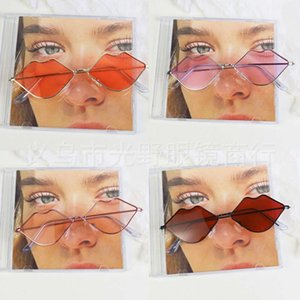 Sunglasses Small frame metal lip trend ocean red