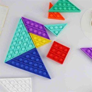 Empurre Bubble Pop It DIY Tangram Tangram Tangram Toy Sete Peça Puzzle Fidget Brinquedos Multi Pessoa Pessoa Puzzle Jogo Descompression Toys Gadget H32Y1LO
