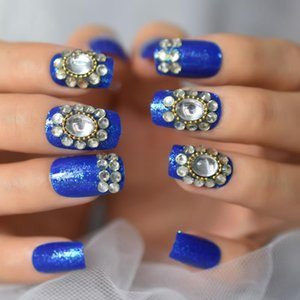 False Nails Diamond Blue Press On Short Round Fake With Crystal Flower Designs Shimmer Acrylic Wedding Festival Daily