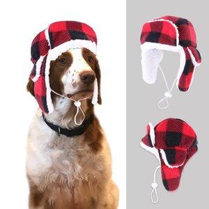 Dog Apparel HptYfd Winter Hat Warm Fleece Plaid Pet Headgear For Puppy Outdoor Windproof Helmet Adjustable Accessories