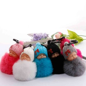 Cute Sleeping Baby Doll Keychains Fluffy Fur Pompom Keychain Car Bag Pendants Keyring key holder Party Favor LJJA3773-13 A9HG