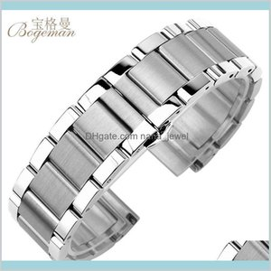 Solid 316L Stainless Steel Watchbands Silver 18Mm 20Mm 21Mm 22Mm 23Mm 24Mm Metal Watch Band Strap Wrist Watches Bracelet+Tool Gyupk Fbgiv