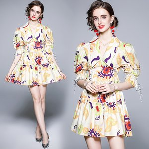 Girl Boutique Dress Short Sleeve Beaded Retro Trend Dresses Summer Printed Dress High-end Fashion Lady Dresses Casual Dresses