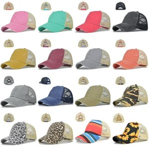 16 Styles Criss Cross Ponytail Hats Woman Washed Mesh Messy Bun Sunflower Leopard Baseball Cap CYZ3019