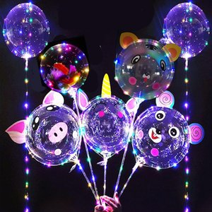 Bobo de 20 pulgadas Globo LED Luz Multicolor Luminoso Luminoso de 70 cm Polo 3m 30leds Iluminación nocturna para el globo de fiesta Decoración navideña
